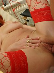 Red mature slut getting a deep inspection