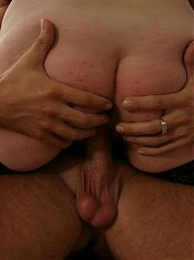 See this red mature nympho munch on that throbbing cock