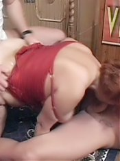 Wild granny Jakie goes hardcore as she goes for a nasty threesome session with her studs live