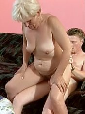 Mature blondie Susan gives a nasty mouthfuck and sits on a thick cock and rides it with pussy live