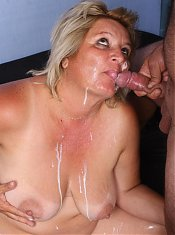 Mature blonde BBW Sussana sucks a schlong with gusto and later got jizzed and fucked in this porn story