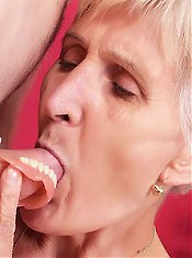 Naughty older babe Irene removes her dentures to work a cock and takes it inside her cunt